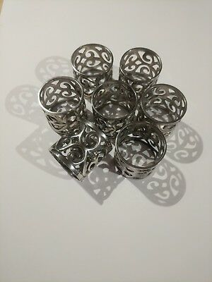 Decorative Silver Napkin Rings - Set Of 7