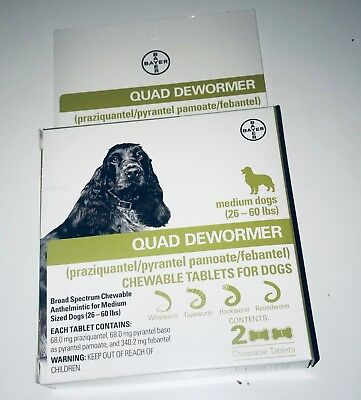 Bayer Quad Dewormer Medium Dogs 26 - 60 lbs (2 Chewable Tablets) - NEW in box