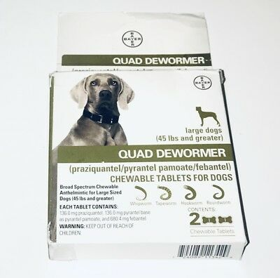 Bayer Quad Dewormer LARGE Dogs 45 lbs  (2 Chewable Tablets) - NEW in box
