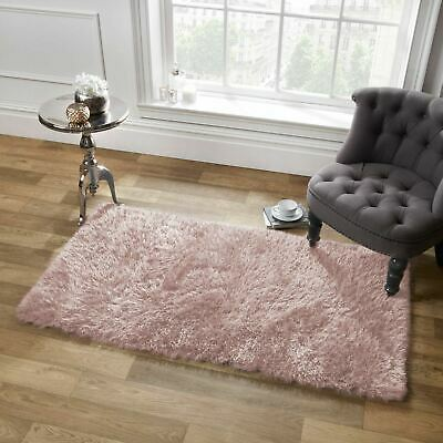Sienna Large Shaggy Floor Rug Dazzle Soft Thick 5cm Pile Blush Pink from £17.50