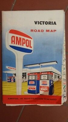 AMPOL Road Map of Victoria Vintage 1960's