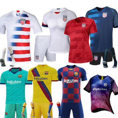 d8cf06d21ec New Kids Men Boys Football Outfit Jersey Soccer Strips Sports Suits with  Socks