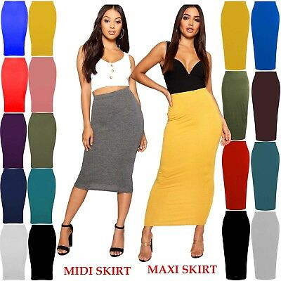 Womens Plain Jersey Bodycon Tube Long Maxi Skirts Ladies Midi Pencil Skirt 6-14