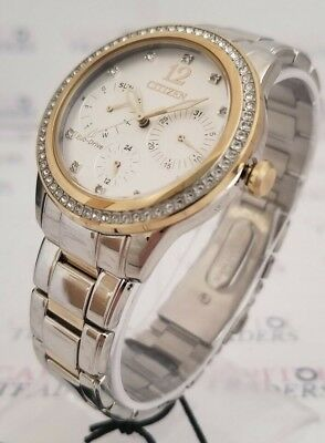 Citizen Eco-Drive FD2018-56A Women's 37mm Crystal Accent S/Steel Two-Tone Watch