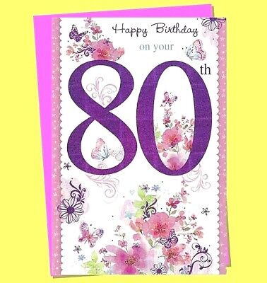 Age 80 Female Birthday Card Pink Ladies Women Greeting 80th