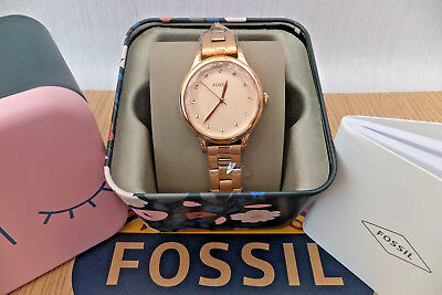 457a60f361b FOSSIL ladies Laney Three-Hand Rose Gold-Tone Stainless Steel Watch BNWB