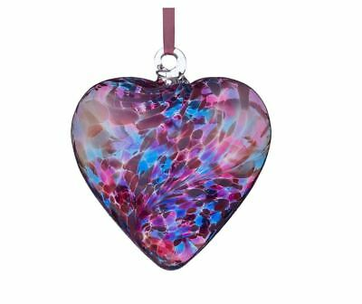 Hanging Glass Friendship Heart - Blue & Pink 12cm  - by Sienna Glass