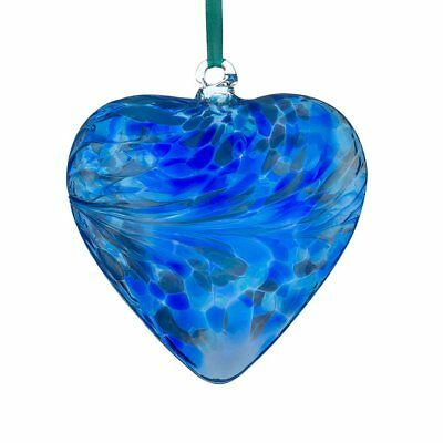 BRAND NEW Hanging Glass Friendship Heart - Blue 12cm  - by Sienna Glass