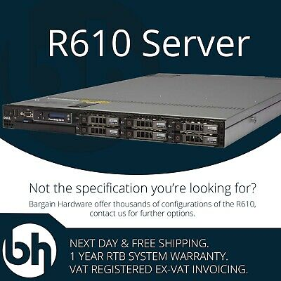 Dell R610 2x X5690 3.46GHz Hex Core 96GB 5.4TB HDD Configurable PowerEdge Server