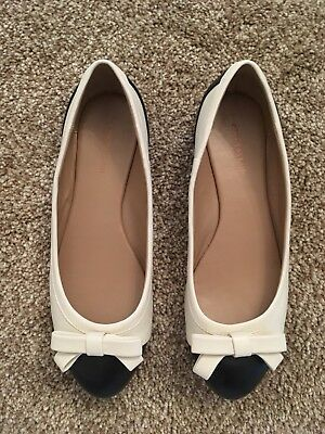 4c31e8d6fcff Ann Taylor Cream Black Bow Front Flats Size 7.5 M, Free Shipping!