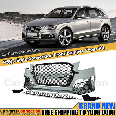 Front Bumper Conversion For Audi Q5 SQ5 13-17 PDC Glossy Black Center Grille
