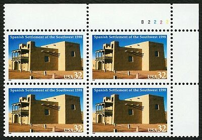 #3220 32c Spanish Settlement of SW, Plate Blk [B2222 UR], Mint ANY 4=FREE SHIP