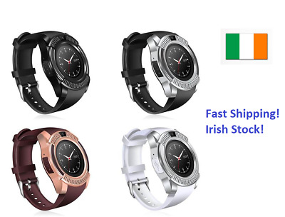 Smart Watch Round Bluetooth Sim Card TF Slots Camera for Iphone Samsung Unisex