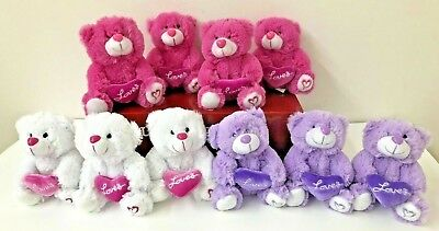 "10 Stuffed Teddy Bear I Love You Gift Plush Heart Valentine 6"" Pink Purple White"