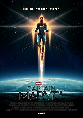 "Captain Marvel Poster 48x32"" 36x24"" 21x14"" Movie Brie Larson 2019 Print Silk #2"