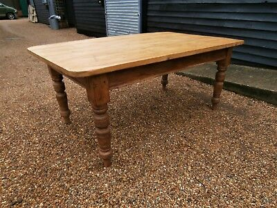 LARGE 19th CENTURY PINE FARMHOUSE STYLE DINING KITCHEN TABLE - WE CAN DELIVER