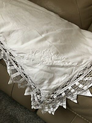 Antique Lace Pillowcase Taped Openwork Embroidered White Cotton French Vintage