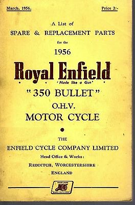 Spare Parts List Royal Enfield 350 Bullet OHV Motor Cycle 1956 27530