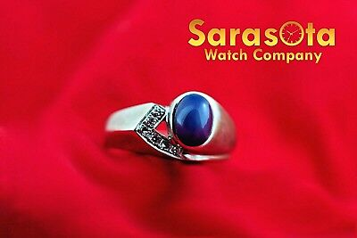 14k White Gold Oval Sapphire with Diamonds Accent Ring Size 7.75