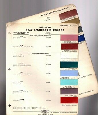vintage 1957 STUDEBAKER Color Chip Paint Sample Brochure / Chart (+ late 1956)