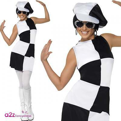 Ladies Retro GOGO 1960s Party Girl Costume Swinging 60s Adult Fancy Dress Outfit