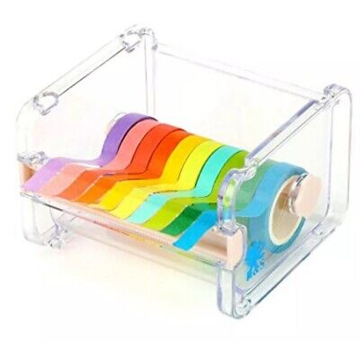BN H&S Washi Tape Rainbow Sticky Paper Roll Tape With Dispenser Holder Kit