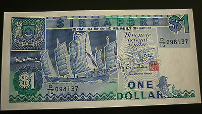 Singapore One Dollar   Banknote -  1987 -  Crisp Uncirculated