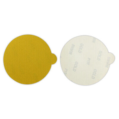 100 Pack - 6 Inch 320 Grit Gold Peel and Stick Adhesive Backed PSA Sanding Discs