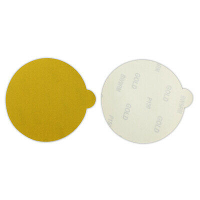 100 Pack - 5 Inch 400 Grit Gold Peel and Stick Adhesive Backed PSA Sanding Discs