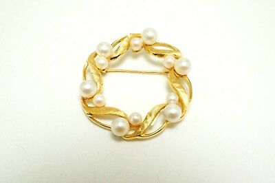 Vintage 14k Yellow Gold IPS Imperial Pearl Syndicate Pearl Wreath Pin Brooch