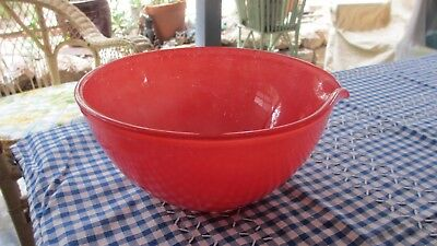 Vintage Red Glass Mixing Bowl with pouring spout 1950s / 60s
