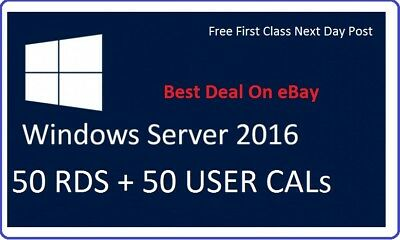 Microsoft Windows Server 2016 Standard RDS 50 USER CALs + 50 USER CALs Card