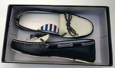 a6084b59b TOMMY HILFIGER Preppy Boat Shoes Womens Flats Size 7 Loafer Navy Blue    White