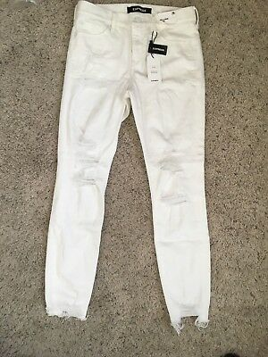 f284d4b429e04 Womens Express Mid Rise White Ripped Stretch Jean Ankle Leggings White NWT  2R