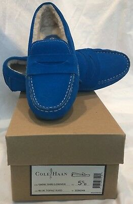 0c46130b3bf Cole Haan Womens Sadie Shearling Driving Moccassins Loafers 5.5 Blue Topaz  Suede