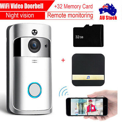 Wireless Smart Door Bell IR Camera Video Wifi Doorbell Remote Intercom >
