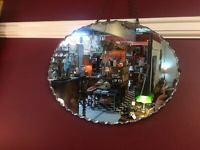 1920's Original Pie Crust Art Deco Mirror