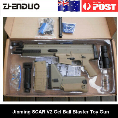 Tan Electric JinMing SCAR V2 Water Gel Blaster  Bullet Mag-fed Toy Gun AU STOCK