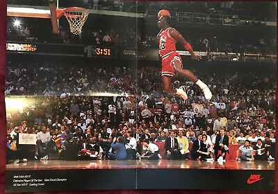 Vintage Rare 1989 Wheaties Michael Jordan NBA MVP Nike Fold Out Poster  16x23in.