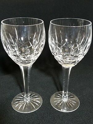 "WATERFORD BALLYMORE Crystal Globet Red Wine / Water Glasses 7 5/8"" Set of 2"