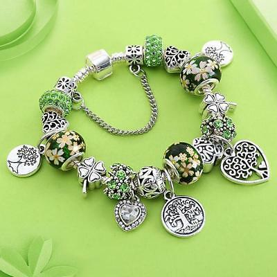 Dropshipping Green Tree of Life Charm Pan Bracelet Silver Color Heart Flower Bea