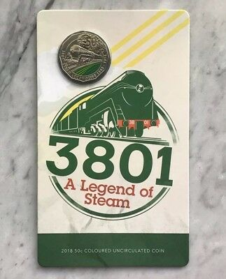 2018 Australia 50c Coloured UNC Carded Coin 3801 A legend of Steam Trains