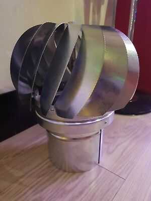 Rotating MAD Spinner Stainless Steel Cowl Chimney Flue Anti Down Draught 130mm