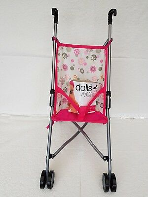 Dolls World Stroller Girls Foldable Toy Baby Pushchair Pram Buggy, Pink as shown
