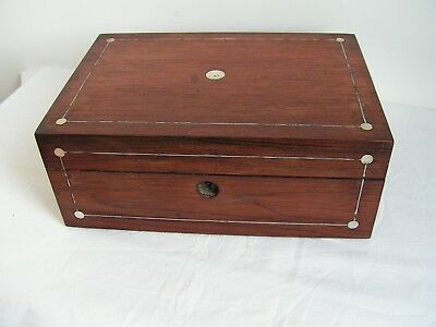 Antique Victorian Rosewood Jewellery Sewing Box Mother Of Pearl Silver Stringing