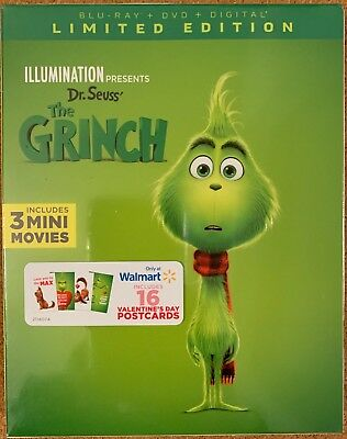 New Dr. Seuss The Grinch Blu Ray Dvd Walmart Exclusive Limited Edition Postcards