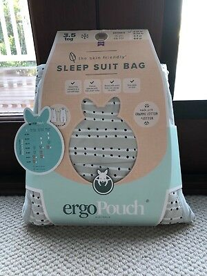 Ergopouch Sleep suit bag 3.5tog. 2-12months. Grey with Navy dots. Organic cotton