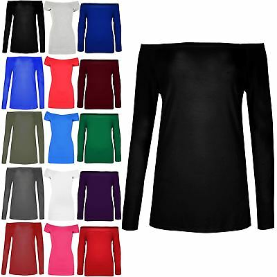 Ladies Off the Shoulder Bardot T Shirt Womens Full Sleeve Baggy Oversized Top