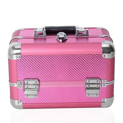 Pink Aluminum 4 Layer Extendable Cosmetic Train Case (11.4x7.5x7.5 in)