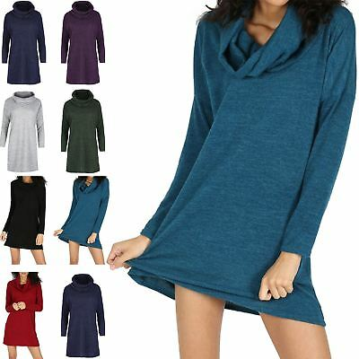 Ladies Cowl Neck Full Sleeve Baggy Top Womens Knitted Oversize Mini Dress Jumper
